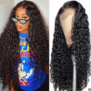 Водная волна Синтетические волосы на кружеве парики из натуральных волос Hair продукты Синтетические волосы на кружеве al Волнистые парик 30 д...