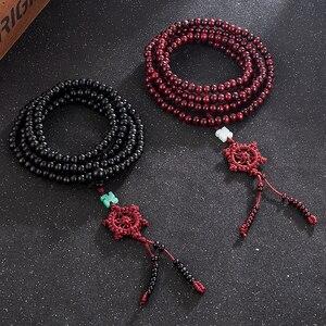 Image 3 - 2 Color Natural Fragrant Sandalwood Beads Bracelet Buddhist Meditation Prayer Beads Mala Bracelet Hand Necklace