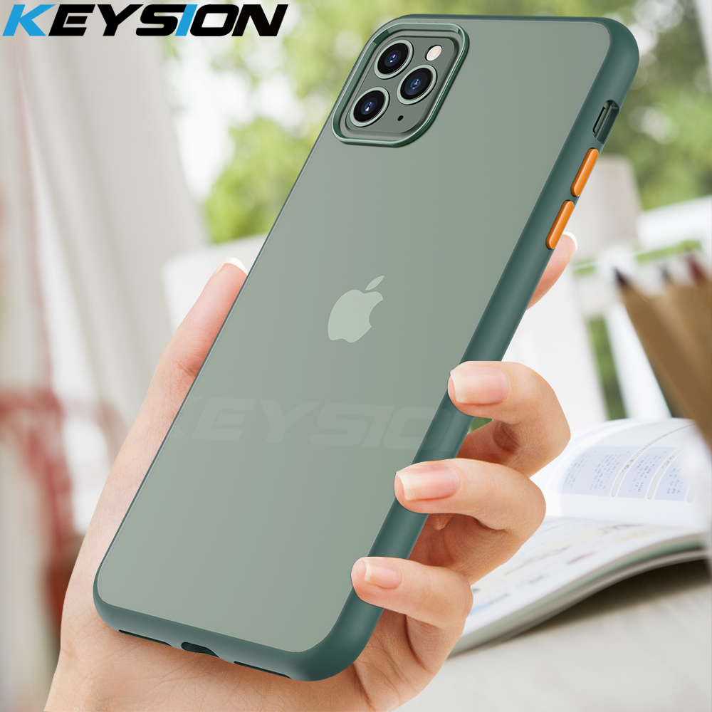 KEYSION Fashion Matte Case for iPhone 11 Pro 11 Pro Max Shockproof Transparent Phone