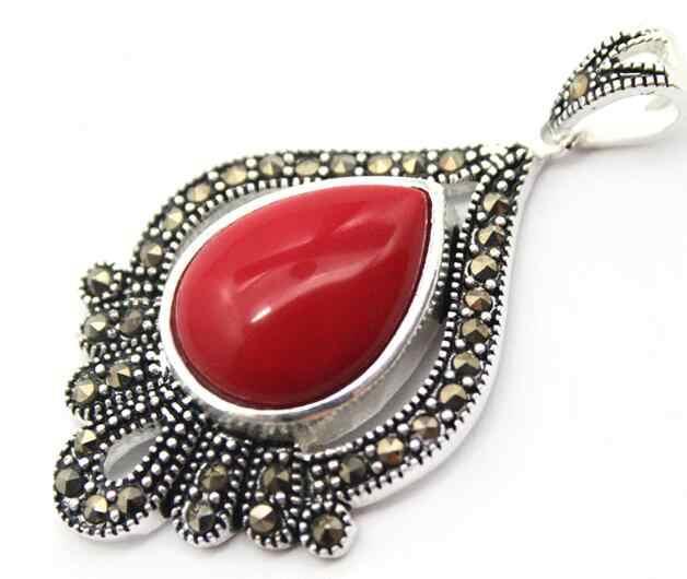 เครื่องประดับไข่มุกชุดเลดี้ออกแบบสีแดง Lacquer แกะสลัก Marcasite 925 เงินสเตอร์ลิงแหวน (#7-10) ต่างหู Pan จัดส่งฟรี