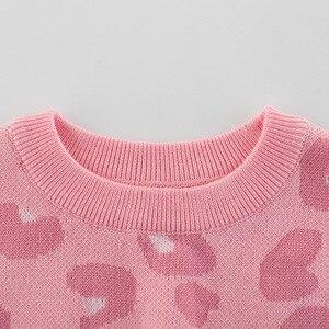 Image 2 - Wiosenny i jesienny nowy nabytek Baby Girl Clothes dziecięcy sweter dziecięcy swetry dziewczęcy różowy z długim rękawem O neck dziecięcy sweter z dzianiny