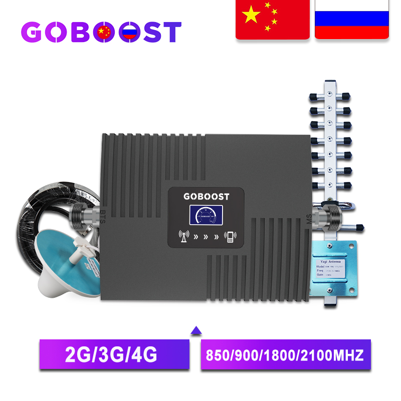Goboost gsm repetidor 2g 3g 4g celular amplificador de sinal 4g celular amplificador gsm 900 1800 2100 móvel sinal impulsionador repetidor
