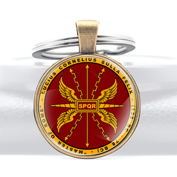 SPQR Lucius Cornelius Sulla Felix Master of Rome Glass Dome Key Chains Charm Men Women Key Ring Keyfob Jewelry Gift image