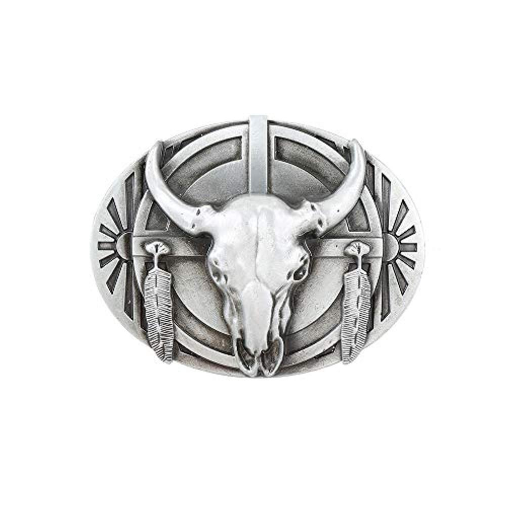 Silver Bull Head Oval Shape Belt  Buckle For Woman Western Cowboy Buckle Without Belt Custom Alloy Width 4cm