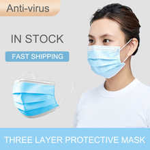 100pcs 3 Layers Anti-Dust Dustproof Face Mask Facial Protective Disposable Mask Features as Medical N95 Mask CE Certificate
