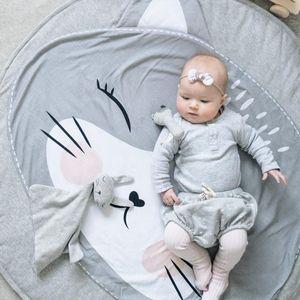 Image 4 - Tapis de jeu dessin animé Animal bébé tapis nouveau né infantile ramper couverture coton rond tapis de sol tapis tapis pour enfants chambre pépinière décor