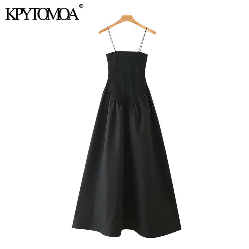 KPYTOMOA Women 2020 Chic Fashion Pathwork Strech Slim Midi Dress Vintage Backless A-line Thin Straps Female Dresses Vestidos