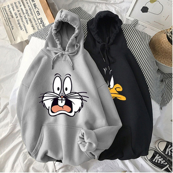 Winter 2020 Harajuku Couple Sweatshirt Cute Cartoon Print Ladies Hoodie Korean Fashion Street Women Pullover Hoodie 1