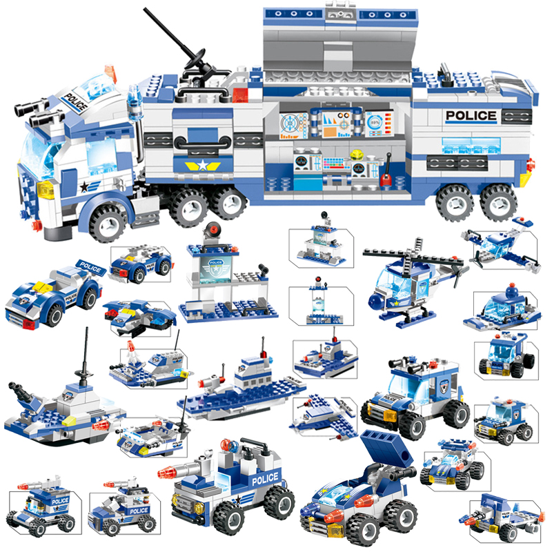 762PCS Building Blocks Set 8 In 1 Robot Aircraft Car City Police SWAT Creator Playmobil Juguetes Educative Toys For Children