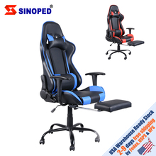 【SINOPED】High Back Swivel Chair Racing Gaming Chair Office Chair with Footrest Tier Black & Blue Free Shipping to USA