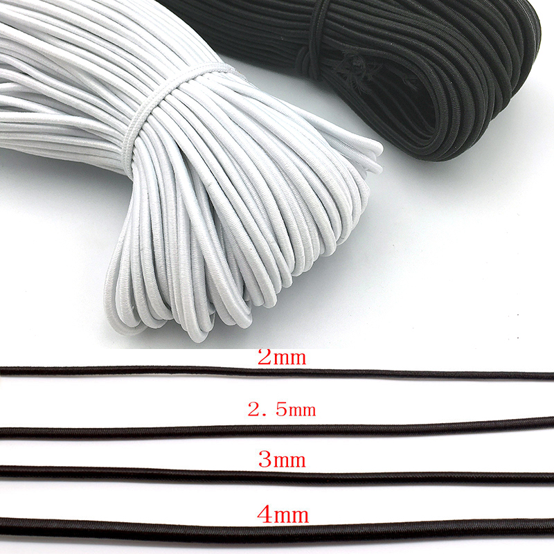 1MM//2MM//3MM White//black thin round Elastic Bands Elastic rope wedding
