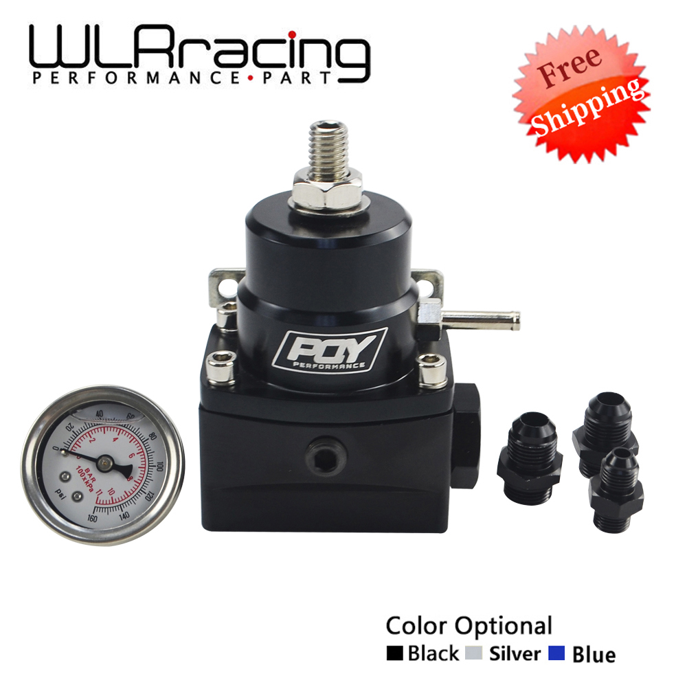 FREE SHIPPING AN8 high pressure fuel regulator w/ boost -8AN 8/8/6 EFI Fuel Pressure Regulator with gauge WLR7855