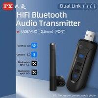 PX CSR8675 aptX HD/LL USB 블루투스 5.0 어댑터 PC 용 3.5mm AUX 무선 오디오 송신기 TV 데스크탑 노트북 두 링크, CSR8675