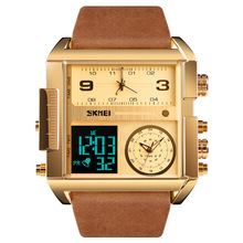 Men watches 2020 luxury Business Leather strap Watch men Waterproof Square watches for men Luminous Alarm calendar mens watches cheap OEING Alloy CN(Origin) 26 5cm 3Bar Fashion Casual Digital Buckle 15mm Hardlex Auto Date Complete Calendar Multiple Time Zone