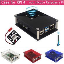Case Raspberry Pi Transparent Cooling-Fan New Black Red for 4-Rpi/4 Blue 4-Model Shell-Box