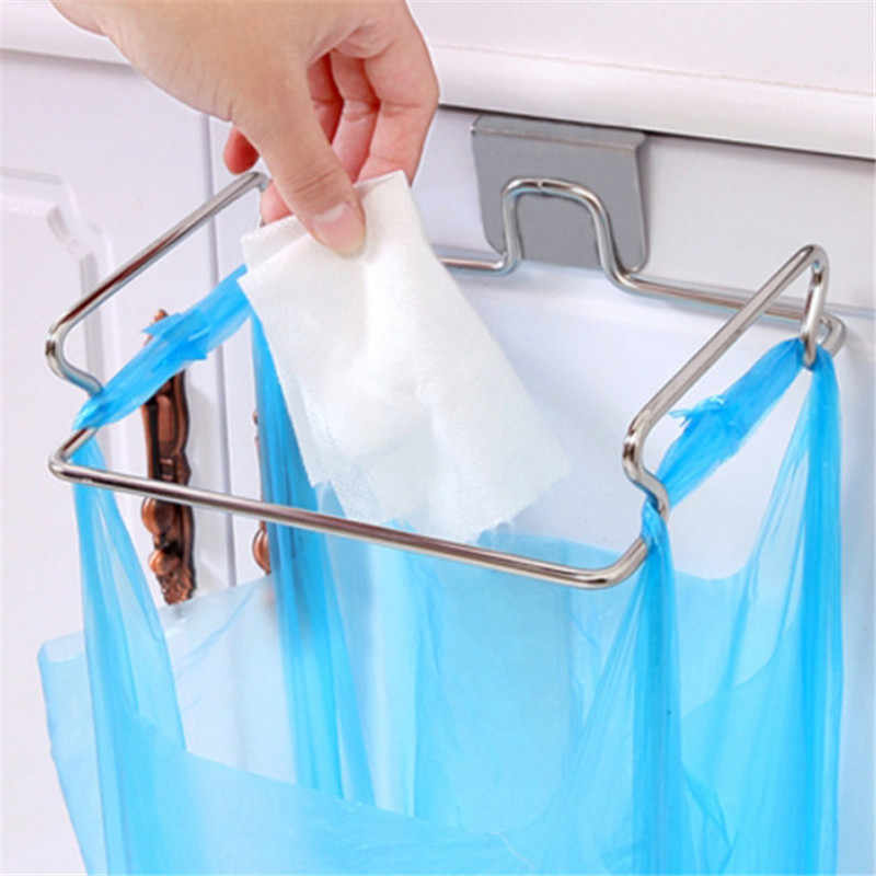 Stainless Kitchen Trash Bag Holder Cabinet Multipurpose Hand Towel Holder Rack