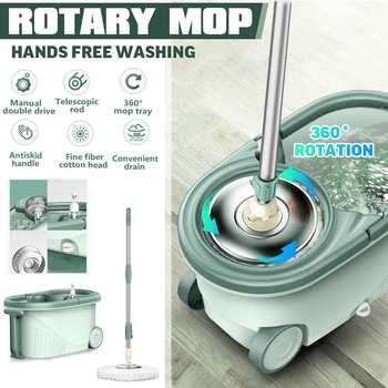 Meigar 360° Roatation Automatic Microfibre Spin Mop Dust Fast Dry Round Mop Dual-Drive Spin-drying Household Cleaning Tools Mop