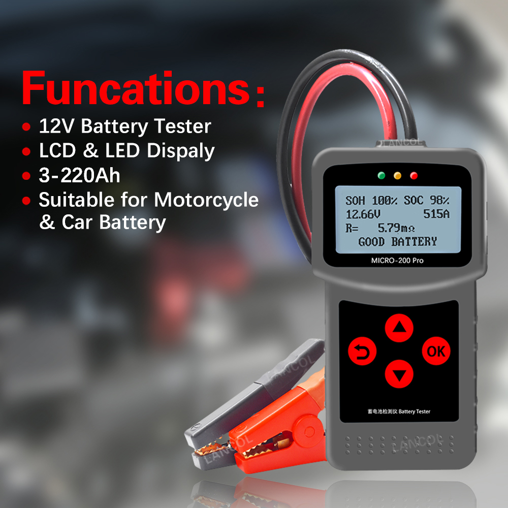 Lancol  Mciro200Pro 12V Battery Tester AnalysCar Automotive Battery Tools Auto Factory Diagnostic Tools  For Battery Life Tester