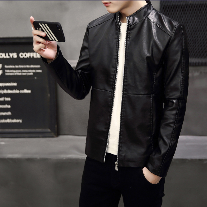 Autumn & Winter 2019 New Style Men PU Leather Slim Fit Locomotive Stand Collar Jacket Youth Korean-style Casual Coat