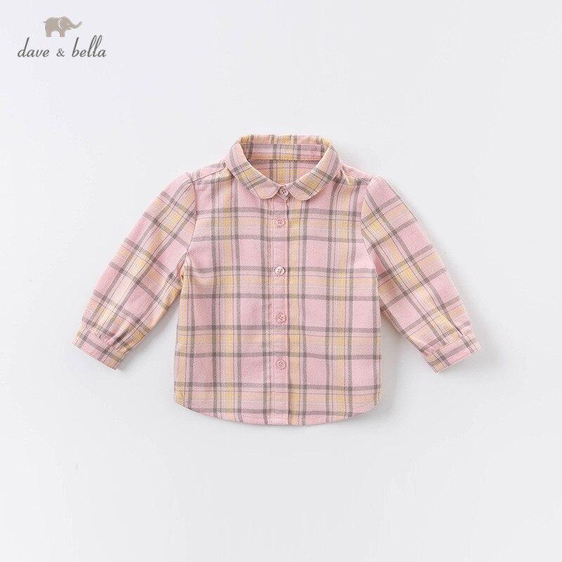 DB16141 dave bella рубашки с принтом в клетку для маленьких девочек, топы для младенцев, детская одежда высокого качества|Блузки и рубашки| | АлиЭкспресс