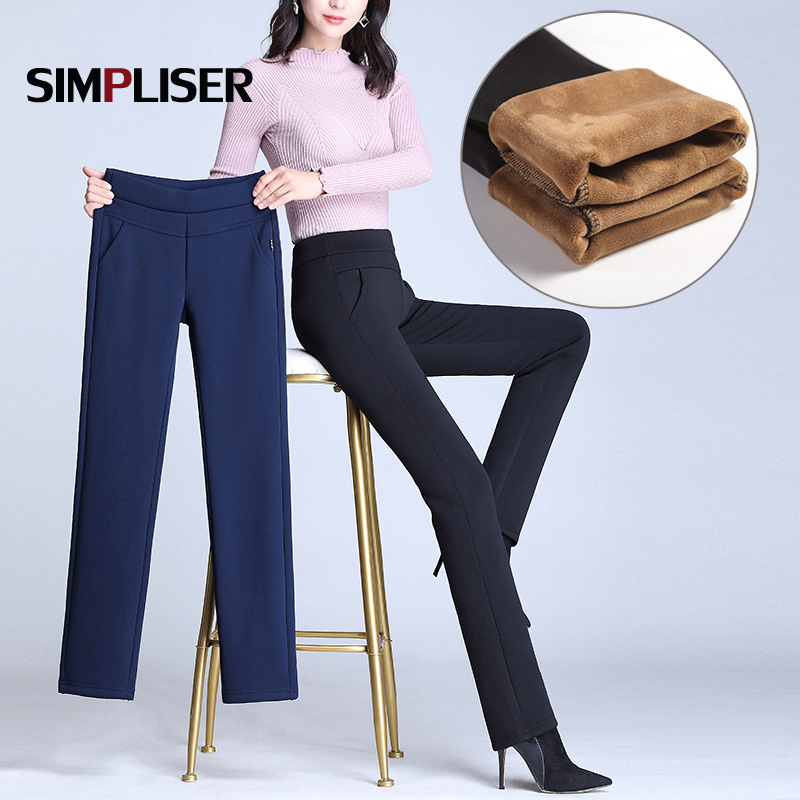 Elastic High Waisted Women Trousers Plus Size 4XL Ladies Office Work Pants Stretch Female Warm Velvet Pants Black Blue Red 2019