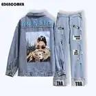 Large Size Women's Clothing 2019 Autumn/winter Casual Denim Jacket Breaking Letter Jeans Two piece Set Conjuntos De Mujer