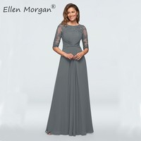 Gray Chiffon Mother of the Bride Groom Lace Dresses 2020 Half Sleeves Floor Length Cheap for Wedding Formal Party Gowns