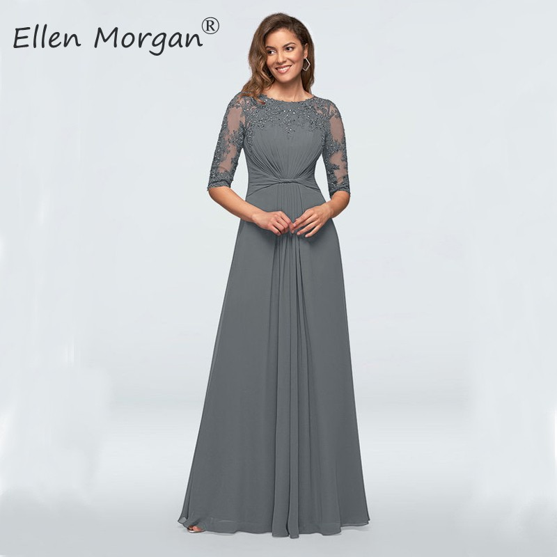 Grey Chiffon Mother Of The Bride Groom Lace Dresses 2020 Half Sleeves Floor Length Cheap For Wedding Formal Party Gowns