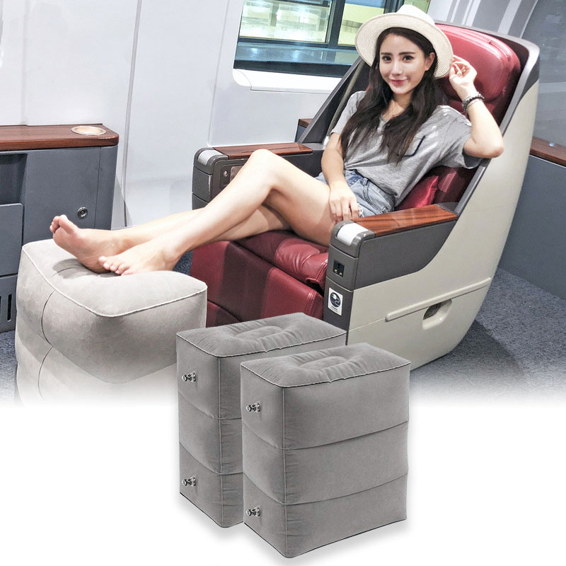 Airplane Footrest Travel Pillow PVC Inflatable Sleeping Travel Pillow Portable Plane Leg Resting Train Kids Bed Foot Rest Pillow