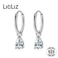 LicLiz New 2019 925 Sterling Silver Water Drop Zircon Crystal Hoop Earring for Women White Gold Jewelry Brinco LE0646