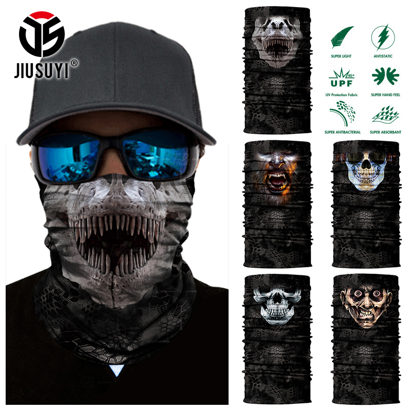 Magic 3D Seamless Horror Ghost Death Skull Neck Warmer Half Face Mask Head Scarf Bicycle Bandana Headband Headscarf Halloween