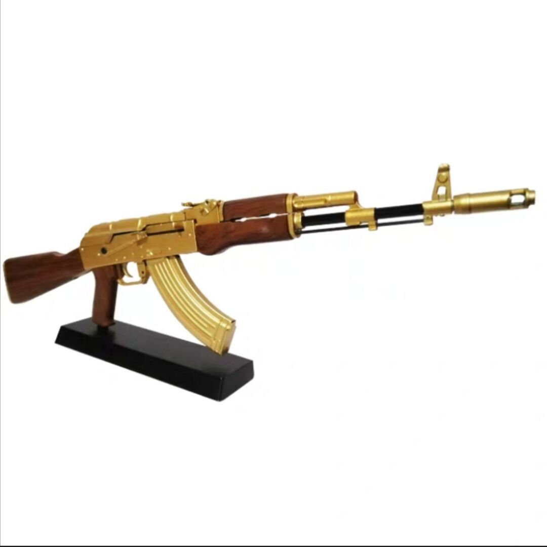 1/3 Golden AK47 Military Model Rifle Assembled Alloy Rifles Decoration Toys Gifts