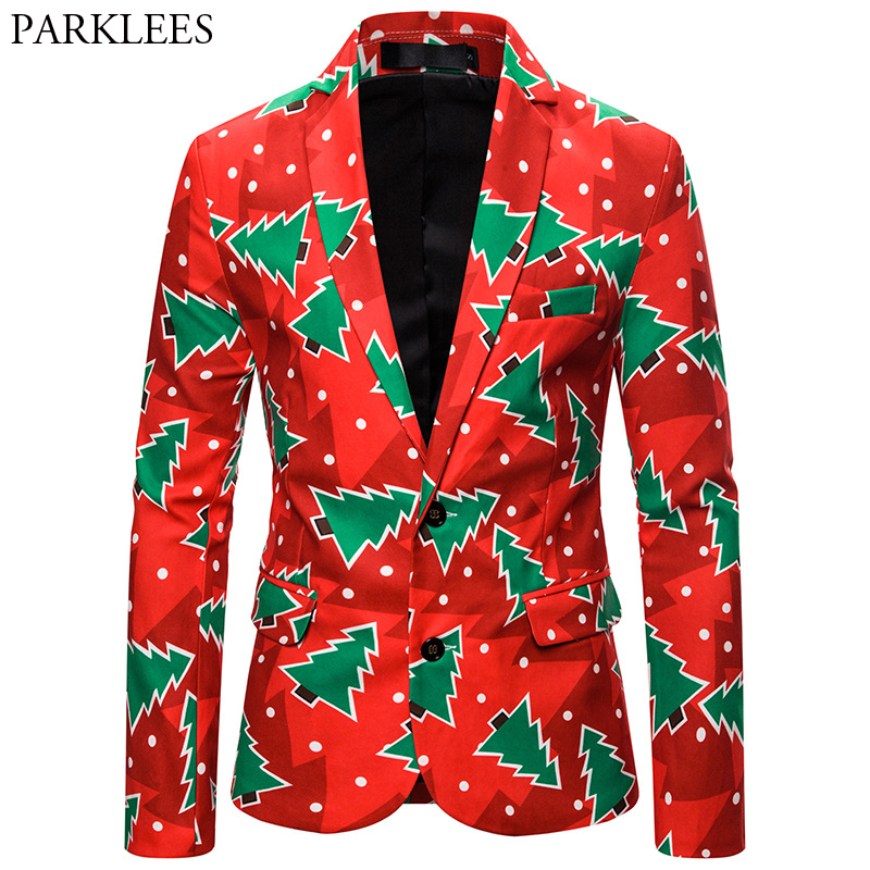 Ugly Christmas Suits Gifts For Men Novelty Xmas Tree Print Red Blazer Jacket Male Party Prom Blazer Masculino Trajes De Navidad