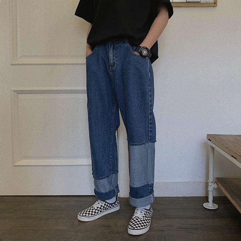 US $35.23 |Jesień nowe dżinsy mężczyźni mody mycia kolizji kolor łata dziury spodnie jeansowe męskie Streetwear dzikie Hip Hop luźne proste dżinsy w