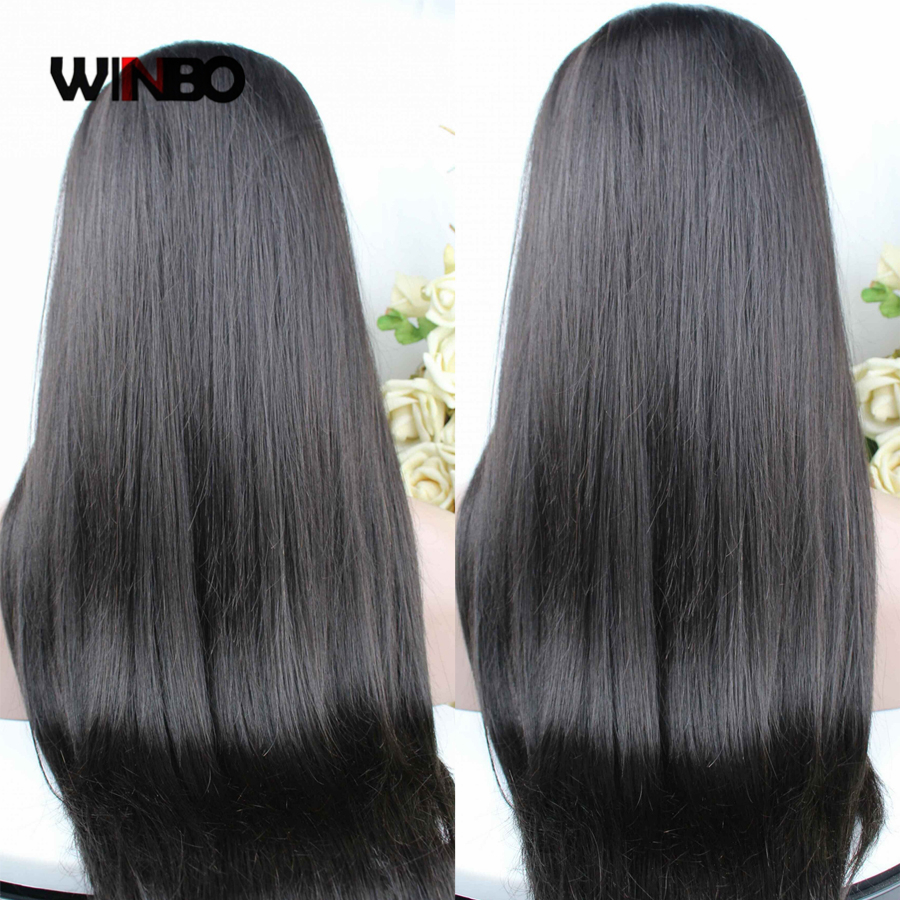 WINBO Brazilian Remy Hair Women Wigs Straight Full Lace Wigs Natural Black Color Pre Plucked Hairline Baby Hair
