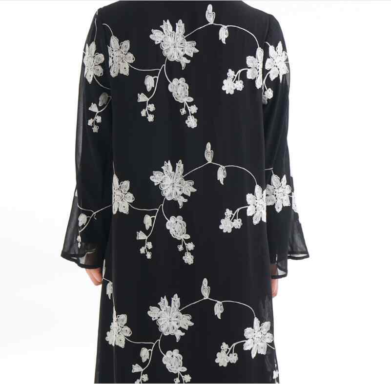 터키어 드레스 블랙 abaya 자수 plisse 이슬람 의류 여성 화이트 이슬람 카디건 여름 드레스 jalabiya 두바이 kj