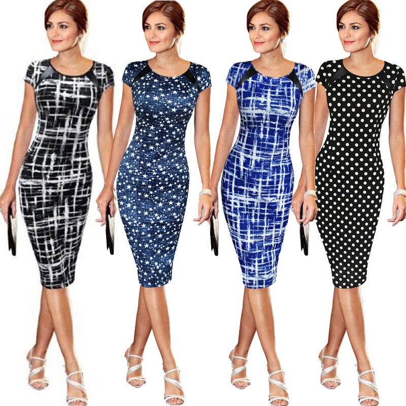 Hc401fb7039dd4aaa9291ec6dc088cba1I Elegant Women's High-waist Short Sleeve Dot Star Print Dress Formal Business Work Sheath Pencil Knee-length Dresses