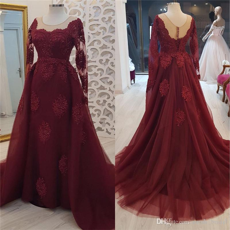 Sexy Burgundy Long Sleeves Mother Of The Bride Dresses 2019 Plus Size Vestido De Madrinha Vintage Lace Formal Evening Prom Gowns
