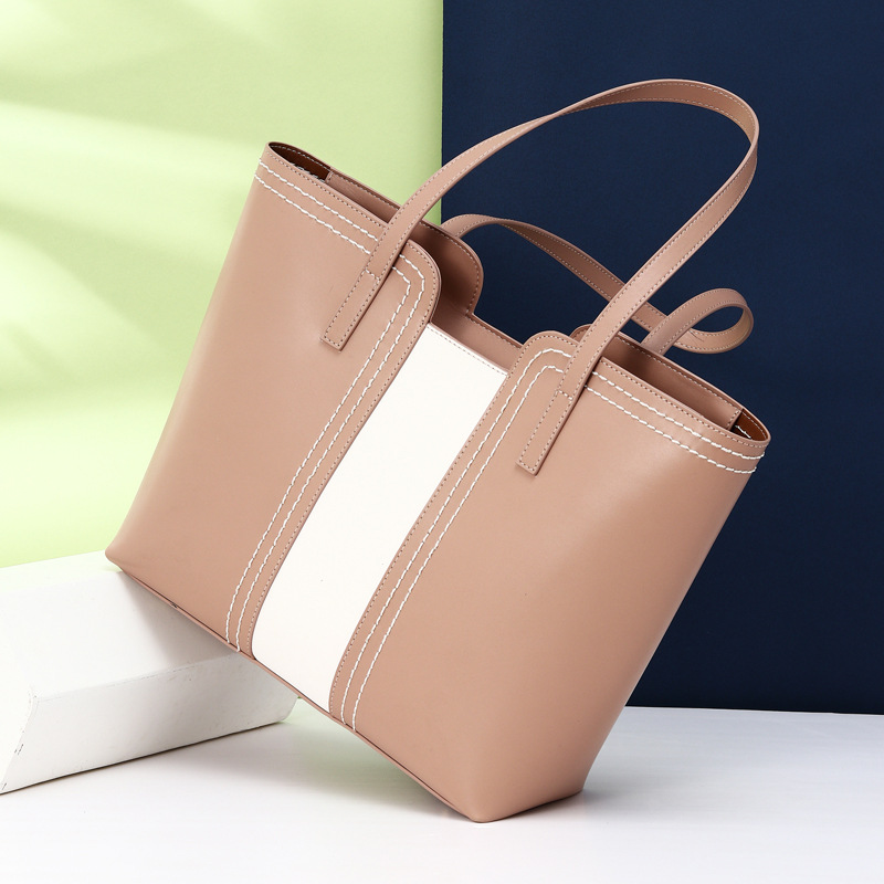 Panelled Colors Women Shoulder Bag 100% Genuine Leather Fashion Commuter Lady Tote Bags Large Capacity Shopping Handbag
