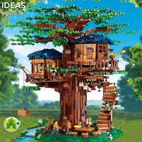 Idéias modelo de casa árvore folhas duas cores compatível blocos de construção tijolos legoinglys 21318 crianças brinquedo educativo presente chirstmas