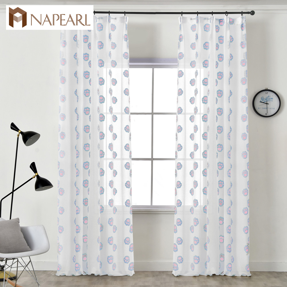 NAPEARL 1 Piece Tulle Curtains Claws Jacquard Home Decor Modern Design Draperies Child Bedroom Windows Customize Style Elegant