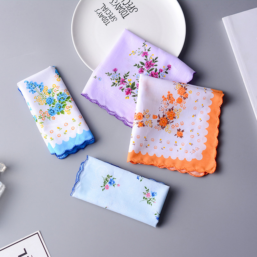 5pcs New Fashion Elegant Fresh Printed Ladies Handkerchief Soft Sweat-absorbent Breathable Towel Multi-color Bib Headscarf