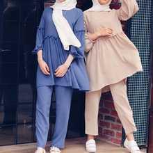 Abaya Дубай Женские топы и брюки костюмы женский комплект из