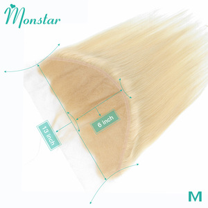 Monstar 613 Blonde 13x6 Lace Frontal Closure Peruvian Remy Human Hair Straight Swiss Lace Frontal With Baby Hair Free Shipping(China)
