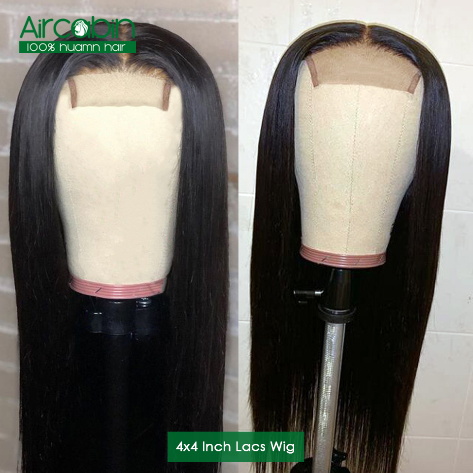 Aircabin Hair Brazilian Wig 4x4 Straight Lace Closure Wig Lace Front Human Hair Wigs With Baby