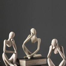 Crafts Sculpture Desktop-Decor Thinker-Statue Resin Figurine Handmade Abstract Office