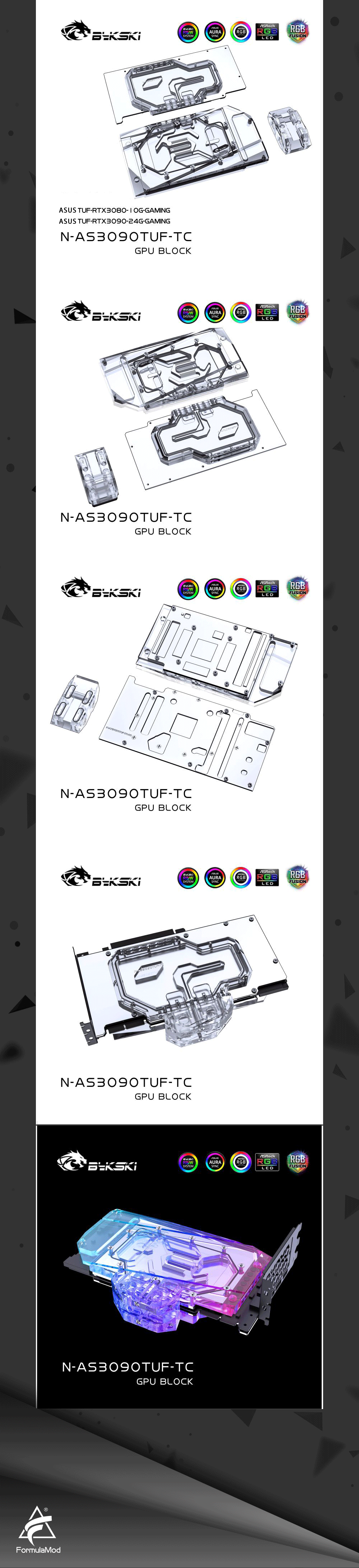 Bykski N-AS3090TUF-TC  GPU Water Block for ASUS TUF RTX 3090 /3080 GAMING Graphic Card with Special Copper Backplate