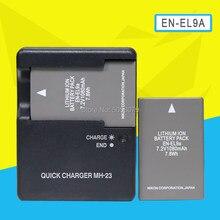2 batteries EN-EL9a ENEL9a, 1080mAh, pour appareils photo Nikon D60 D5000 D40X D40 D3X D3000 D30, avec chargeur MH-23