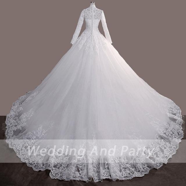 Elegant princess Bride WEDDING gown LONG SLEEVE PLUS SIZE lace up Celebrity Ball Gown Muslim wedding DRESS vestido De Noiva 4