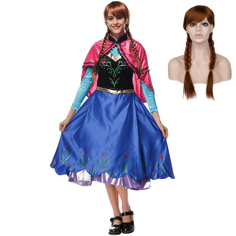 VASHEJIANG Adult Deluex Anna Princess Costume Women Fantasia Cosplay Blue Long Dress Anime Party Fancy Dress Halloween Costumes